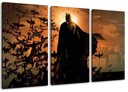 (Batman 3-Teilig auf Leinwand, XXL riesige Bilder fertig gerahmt mit Keilrahmen, Kunstdruck auf Wandbild mit Rahmen)