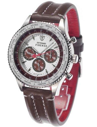 DeTomaso Men's Quartz Watch Firenze Braun Zifferblatt DT1023-D with Leather Strap