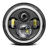 7'' Motorrad Scheinwerfer Cree LEDs,GreenClick Rund Projektion Scheinwerfer weißlicht für harley Motorräder Jeep Frontscheinwerfer Wasserdicht IP67 (Schwarz)