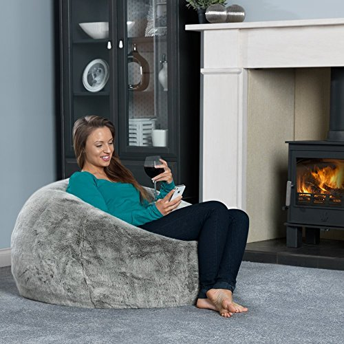 ICON XL Panelled Faux Fur Bean Bag Chair Extra Large