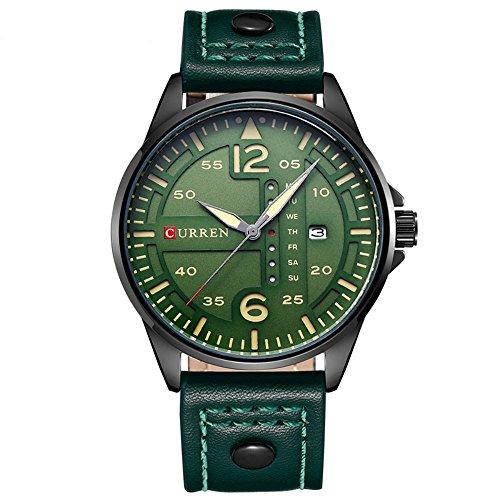 da-polso-impermeabile-watch-cinturino-in-pelle-verde-del-movimento-del-giappone-data-settimana-uomo-