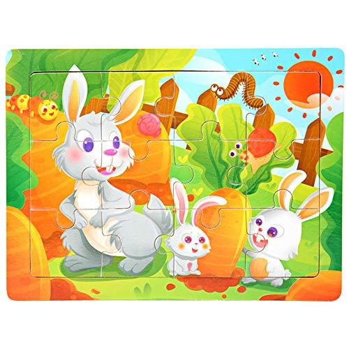 Wooden Animal Puzzles for Toddlers 1 2 3 4 Jahre Alt, Farbe Form Kognitiven Fähigkeiten Lernen Früherziehung Spielzeug Geschenke, Helle Und Helle Farbe Formen,J (Besten Jahr 1 Bildungs-spielzeug Alt)