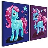 murando - Malen nach Zahlen - 2 Motive - Bilder Pferde 33x23 cm - Malset mit Holzspannrahmen - DIY Entwicklung - Für Kinder vom 7 bis 9 Lebensjahr n-A-0573-d-r