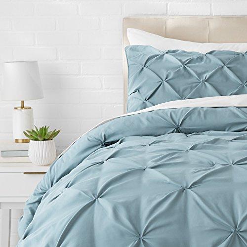 AmazonBasics - Bettgarnitur mit Quetschfalten, 240 x 220 cm, Spa-Blau (Bettdecke Bettüberwurf Set)