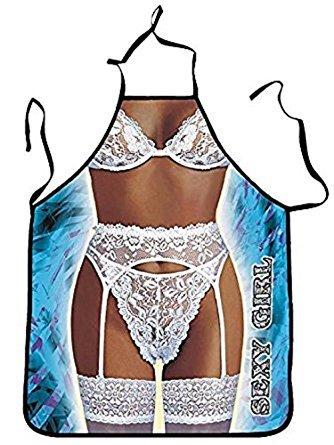 Tablier de cuisine humoristique Femme sexy Lingerie Blanche - Sexy Deguisement Humour - 172