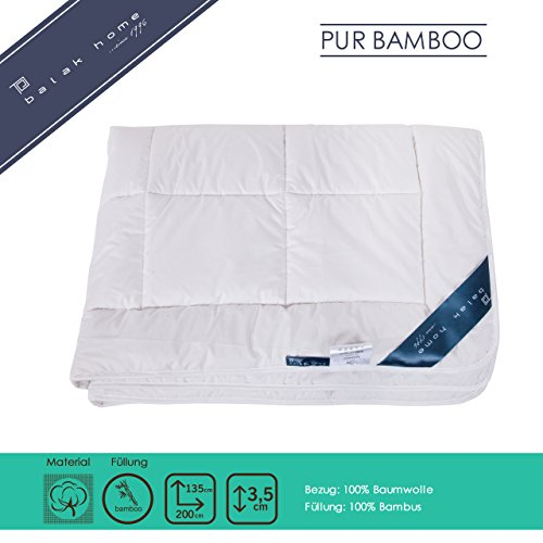 BALAK HOME® Premium Bettdecke Steppdecke Pure Bamboo (135 x 200 cm) aus 100% Baumwolle mit hochwertiger 100% Bambus Füllung - leicht | Echte Bambus-Fasern | Gesundes und wohliges Schlafklima (Bambus-bettdecke)