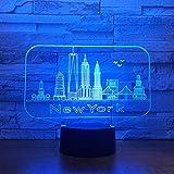 Lampe de table wangZJ 3d optique illusion/lampe 3d illusion/changement de couleur/décor de chambre à coucher lumière de chevet/jouets cadeaux/bâtiment de la ville de New York