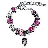 MANBARA pulsera brazalete plateado plata del encanto con el búho y flor para la boda de cumpleaños