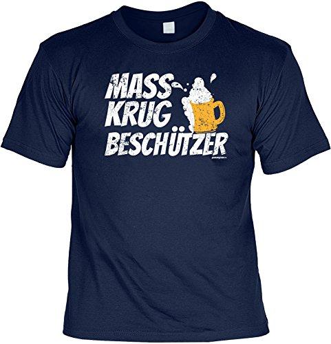 Cooles Volksfest - Oktoberfest T-Shirt - moderne bayrische Tracht : Mass Krug Beschützer -- Goodman Design® Gr: L Farbe: navy-blau