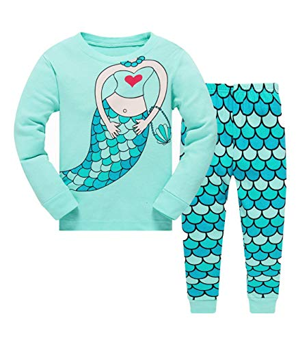 Tkiames Mädchen Pyjama Giraffe Langarm Baumwolle Schlafanzug Set Nachtwäsche Nachtwäsche Gr. 3-4 Jahre, grün -