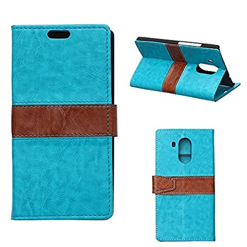 Huawei Ascend Mate 8 Flip Wallet Case, Premium Genuine Quality Double Color Design Flip Leather Wallet Case with 2 Card Slots and Convenient Stand Function for Huawei Ascend Mate 8 - Blue
