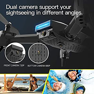 ASD Drone With Camera MiNi Altitude Hover 360 Degree Flips Gesture Selfie Quadcopter 6-Axis Gyroscope Dual Camera 720P HD Camera Live Video Headless Mode Trajectory Flight Follow Me Helicopters