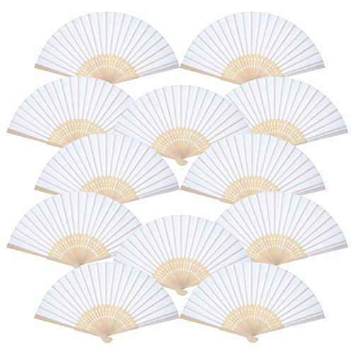 12 Stück Handgehaltene Fächer Weiße Seide Bambus Faltende Fächer Handfächer für Kirche Hochzeitsgeschenk, Partydankesgeschenke, DIY - Braut-fans