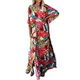 AiJump Women's Boho Kaftan Beach Cover Up Badmode Kimono Maxi Jurk Plus Size