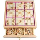 Houten Sudoku-Bord Spel met Lade, Sudoku Nummer Puzzel Speelgoed, Wiskunde Denkspelletje Desktop Speelgoed voor Kinderen Volwassenen - Roze