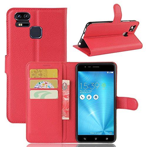 Guran® PU Ledertasche Case für Asus Zenfone 3 Zoom S ZE553KL Smartphone Flip Deckung Standfunktion und Karte Slot Telefonkasten Etui-rote