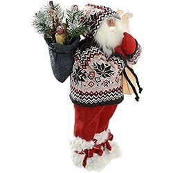 Figura decorativa navideña (45 cm, diseño de Papá Noel con esquís, saco y abrigo de punto)
