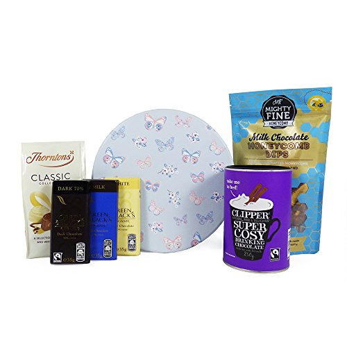 Chocolate Treats Gift Hamper Presented in a Round Butterfly Gift Box - The Perfect Gift Idea for Easter, Her, Mothers Day, Anniversary, Birthday, Mum, Sister, Fiancee, Wife, Ladies, Girls
