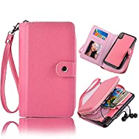 iPhone X Case, iPhone 10 PU Leather Luxury Zipper Wallet Design Case,Vandot Detachable Cover Magnetic Money Card Holder Slots with Wrist Strap [Large Capacity] Pocket Case for iPhone X / iPhone 10 5.8 inch-Pink