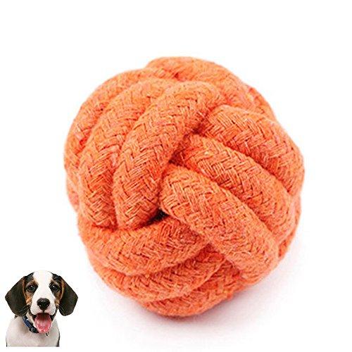 Haustier Spielzeug,1 Stück Hund Seil Kauen Spielzeug Pet Spielzeug Ball,Zahnreinigung Knoten Hundespielzeug Hund Kaut Baumwolle Seil Knoten Ball,Haustier Seil Ball Interaktives Spielzeug (Orange) -