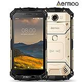 Telephone Incassable, Aermoo M1 Dual SIM IP68 Smartphone 4G Etanche - Android 7.0 Téléphone Portable Debloqué - 5.2 Full HD - Helio P25 Octa-core - 6G RAM + 64G ROM - 8.0MP + 21.0MP - 5580mAh - Or