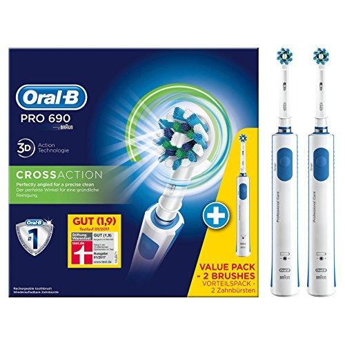Oral-B PRO 690 Elektrische Zahnbürste (wiederaufladbare Zahnbürste mit 2. Handstück, gesunde Zähne, schützt vor Karies, Mundgeruch und Zahnfleischentzündung, powered by Braun)