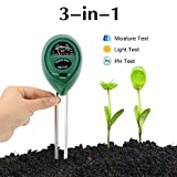 Abafia Soil Testing Kit, 3 in 1 Soil Tester Soil Moisture Meter, Light and PH Acidity Soil Test Tool for Flowers/Grass/Plant/Garden/Farm/Lawn/Indoor & Outdoor (No Battery needed)