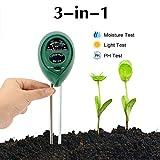 Abafia Soil Testing Kit, 3 in 1 Soil Tester Soil Moisture Meter, Light