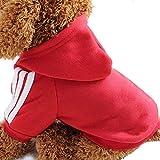 Ogquaton 1 UNIDS Elegante Sudadera para Mascotas Cálido Sudaderas con Capucha Abrigo de Invierno Ropa Deportiva para Perro Gato Disfraz de Disfraces de Vestir al Aire Libre Rojo