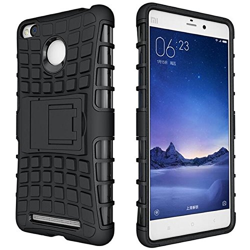 Shop Buzz Hybrid Shock Proof Back Cover Case AND Tempered Glass for Xiaomi Redmi 3S Prime (Black) {Kickstand Military Grade Rogue Back Cover} with Free Tempered Glass For Redmi 3S Prime