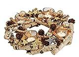 meindekoartikel Adventskranz Dekokranz dekoriert aus Birkenholz mit Teelichthalter Kugeln Sterne Glitzer Ø30xh8cm