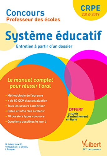 Concours Professeur des écoles - Système éducatif - Le manuel complet pour aborder l'oral - Entretien avec le jury - CRPE 2018 par Marc Loison