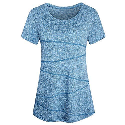 QingJiu Damen Fahsion Bluse Kurzarm Yoga Oberteile Activewear Running Workout T-Shirt