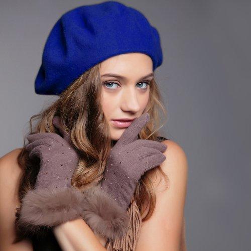 careforyou® Lady Damen Fashion massiv Warm Wolle Classic Winter Herbst Barett Hat French Artist Beanie Hat Ski Cap Maler Cap Tam Geschenke Sapphire Blue 09 Einheitsgröße (Französisch Womens Geldbörse)