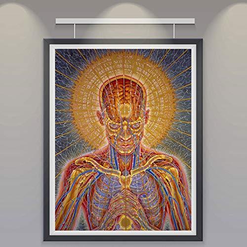yhyxll Wandkunst Alex Grau Überseele Seide Poster und Druck Trippy Psychedelic Abstrakte Malerei Bilder für Wohnzimmer Wohnkultur C 70x100 cm
