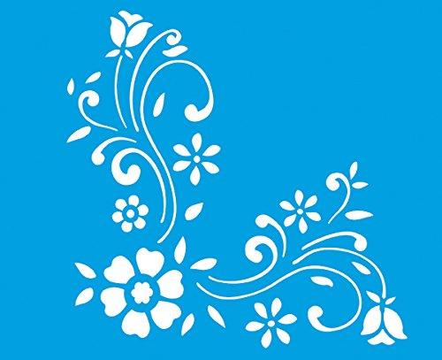 Kunststoff Universal Schablone - Wand Airbrush Möbel Textil Decor Dekorative Muster Design Kunst Handwerk Zeichenschablone Wandschablone - Blumen Blätter Natur ()