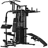 Klarfit Ultimate Gym 5000 Multiestación de musculación (Entrenamiento profesional, robusto armazón, poleas, pesos ajustables, más de 30 ejercicios para brazos, piernas, espalda, hombros y pecho respetando las articulaciones, negra)