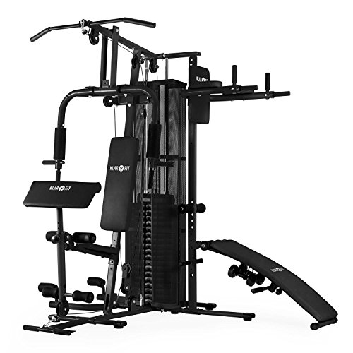 Klarfit Ultimate Gym 5000 Trainingsstation Multifunktionale Fitnessstation (für über 50 Übungen, inkl. Gewichte, leichtläufige Seilzüge) weiß oder schwarz