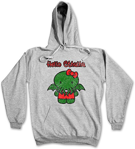 HELLO CTHULHU HOODIE HOODED PULLOVER SWEATER SWEATSHIRT MAGLIONE FELPE CON CAPPUCCIO - Sizes S - 2XL Ash