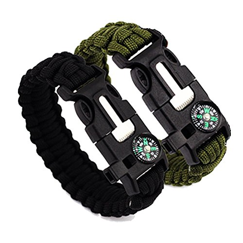 IBuyi Survival Bracelet with Compass Flint Fire Starter Scraper Whistle Gear - Multifunctional Outdoor Survival Kit Paracord Survival Bracelet for Hiking Camping Emergency (Pack of 2)(Black+Green)