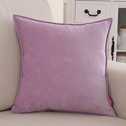 Teebxtile Haut confort velours Velvet Back support berceau en peluche de couleur solide oreiller, 60x60cm (+ oreiller, violet