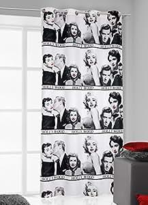 140x245 cm schwarz grau stahl rot Vorhang Vorhänge Marilyn Monroe Ösenschal Fensterdekoration Gardine Blickdicht black grey steely rot Pop Art Marilyn2