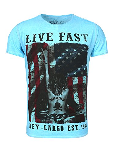 Key Largo Herren T-Shirt FAST Vintage Print Live USA Flag Girl Tattoo Riders Biker Hellblau
