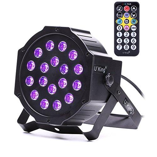 Luces Negras, UKing Luz UV 18 LED x 3W Luces De Escenatio 7 Modos Lampara Ultravioleta por IR Remoto...