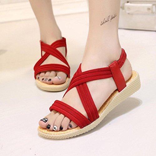 WOCACHI Damen Sommer Sandalen Frauen flache Schuhe Bandage Bohemia Freizeit Damen Sandalen Peep-Toe Outdoor Schuhe Rot