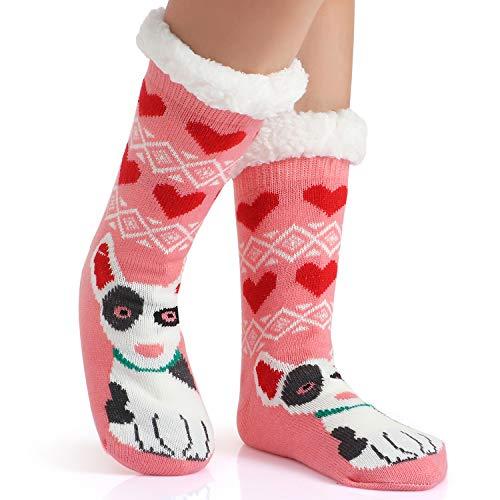 Tacobear Mujeres Gruesos lana calcetines de piso casa abrigados animal calcetines de mujeres antideslizantes calcetines de alfombra Zapatillas de casa para Mujer (Perro E)