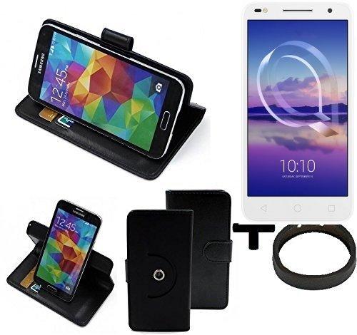 K-S-Trade® Case Schutz Hülle für Alcatel U5 HD Dual SIM + Bumper Handyhülle Flipcase Smartphone Cover Handy Schutz Tasche Walletcase schwarz (1x)