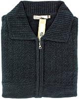 Mens Plain Stitch Detail Front Zipped Cardigan - Navy