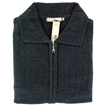 "Mens Plain Stitch Detail Front Zipped Cardigan - Navy (XLarge (44"" Chest))"