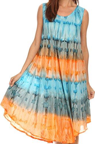 Sakkas 605 Wüstensonne Kaftan Kleid oder Vertuschung für Damen- Türkis / orange - One Size
